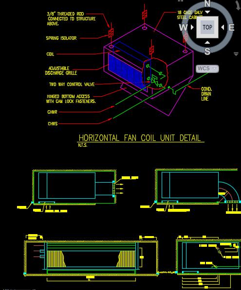 نقشه اتوکد جزئیات اجرایی نصب فن کویل سقفی