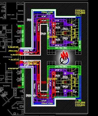 نقشه اتوکد تاسیسات پروژه بیمارستان رادیوتراپی و شیمی درمانی