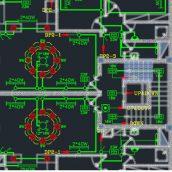 نقشه اتوکد تاسیسات برقی مجتمع آپارتمانی سه طبقه شش واحدی