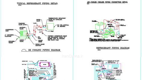 فایل اتوکد اتصالات و جزئیات انواع چیلرشامل لوله و اتصالات چیلر هوایی ،چیلر سانتریفوژ ،چیلر آبی