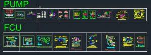 نقشه اتوکد مجموعه جزئیات اجرایی دستگاه های تهویه مطبوع چیلر ، هواساز ، فن ، پمپ ، اسپلیت یونیت
