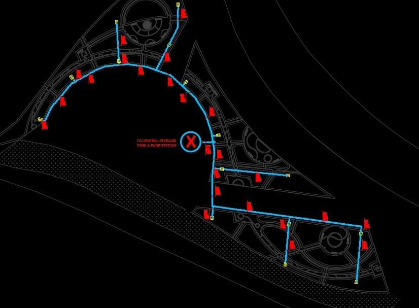 نقشه اتوکد آبیاری دستی و اتوماتیک پارک شهری آبیاری دستی