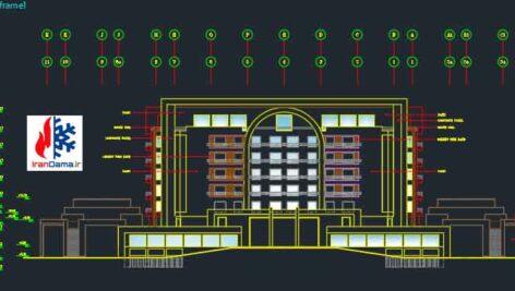 نقشه اتوکد معماری هتل چهار ستاره