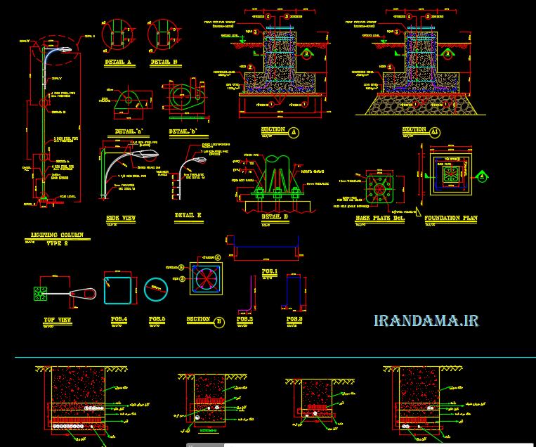 نقشه اتوکد برقرسانی محوطه یک مجتمع بزرگ دانشگاهی