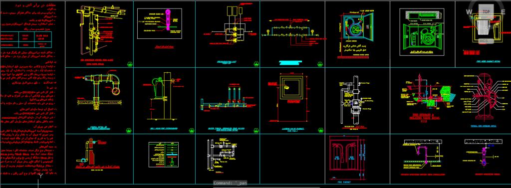نقشه اتوکد جزئیات اجرائی سیستم آب آتشنشانی