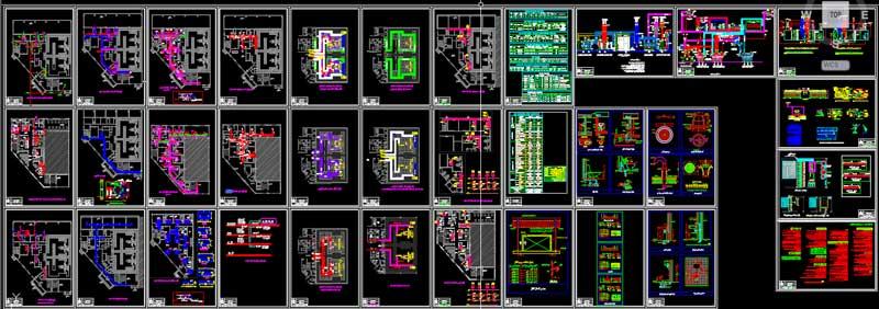 نقشه اتوکد تاسیسات پروژه بیمارستان رادیوتراپی و شیمی درمانی با رعایت مبانی و استانداردهای وزارت بهداشت و شرکت ELEKTA سازنده دستگاه های شتاب دهنده رادیوتراپی