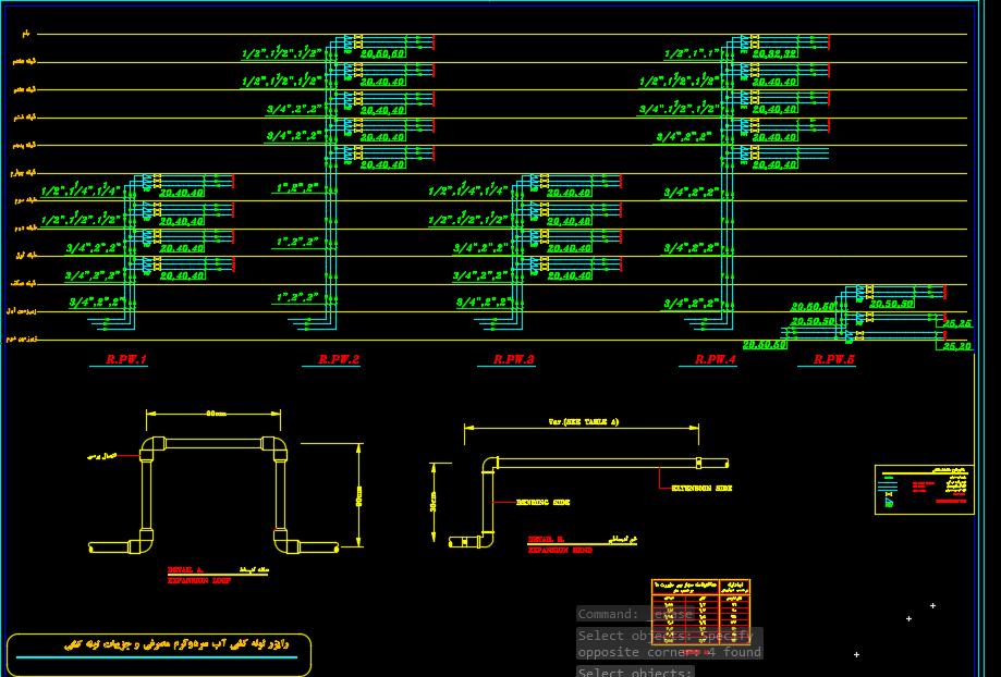 نقشه اتوکد رایزر دیاگرام تاسیسات مکانیکی مجتمع مسکونی