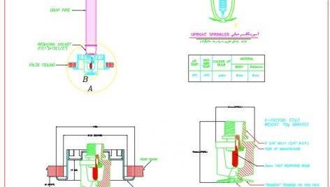 فایل اتوکد جزئیات اسپرینکلر : نازل آبپاش سیستم اطفاء حریق اتوماتیک